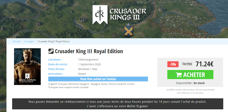 Acheter-et-telecharger-Crusader King III Royal Edition-DLGamer